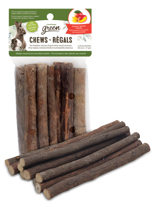 Living World Green Chews – Mango Wood Sticks